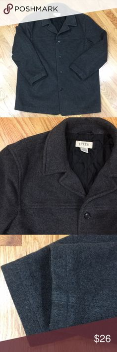 Men's J. Crew wool blend coat Men's J. Crew wool blend coat in a classic style and versatile charcoal gray color. Great used condition with minimal signs of wear. Size L. Dry clean only. J. Crew Jackets & Coats