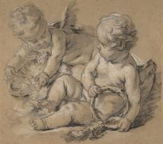 Winged Putti with Flowers ca. 1750 ~ François Boucher (French, 1703–1770)