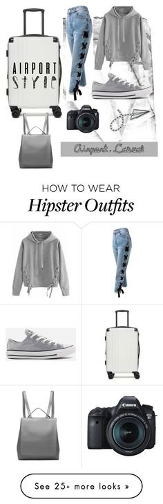 """✈️"" by bookgodess on Polyvore featuring CalPak, Sans Souci, WithChic, Converse, Eos and airportstyle"
