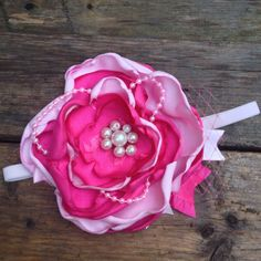 Fuchsia and pale pink satin flower bow with by LittleSparrowBows, $24.00 #littlesparrowbows