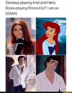 Zendaya playing Ariel and Harry Styles playing Prince Eric? i am so DOWN - iFunny :) One Direction Images, One Direction Humor, Zendaya, Prince Eric, Comebacks And Insults, Baby Movie, Funny Jokes, Hilarious, Ariana Grande Drawings