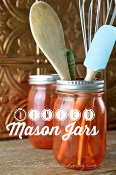 Tinted Mason Jar Craft. How to easily make pretty tinted mason jars in any color you want!