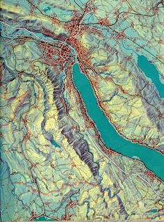 Map of the Canton of Zurich by Eduard Imhof. (1969)