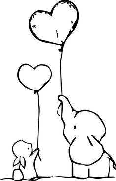 Bunny and Elephant hold heart shaped ballons Wall Decal / Sticker Bunny Tattoos, Elephant Tattoos, Crow Tattoos, Phoenix Tattoos, Ear Tattoos, Wall Decor Stickers, Wall Decals, Elephant Template, Symbols Of Strength Tattoos