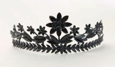 RARE Antique Victorian Mourning Vauxhall Glass French Jet Tiara | eBay