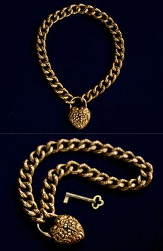 Victorian Chain Link Bracelet with Heart-Shaped Padlock Clasp and Original Key, 14K gold, circa 1890s.