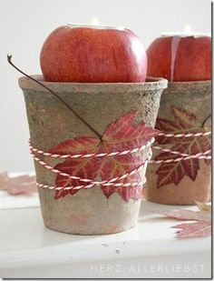 Maple leaf and apple candle