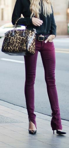 purple jeans. black top, leopard scarf, taupe  booties