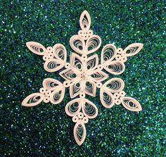 Quilled Paper Snowflake Paper Filigree Quilled Snowflakes Handmade White Christmas Ornament