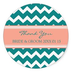 Teal Coral Chevron Thank You Wedding Favor Tags Round Stickers