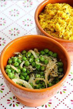 Petits pois épicés à la noix de coco & riz au citron, de l'Inde dans mon assiette - Une deux trois... cerises - Vegan recipe - Recette végétalienne