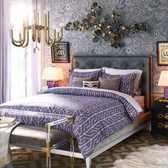 Tip from this fab Jonathan Adler bedroom? Use wallpaper for a splash of unexpected style in overlooked places.