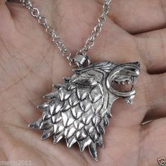 Game of Thrones Stark Direwolf Silver Pendant