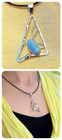 Pendant Necklace Triangle | Sterling Silver Natural Blue Larimar