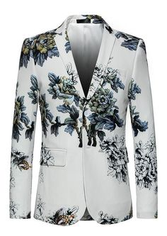 WEEN CHARM Mens Stylish Floral Printed One Button Slim Fit Notched Lapel Flap Pocket Blazer Jacket Coat