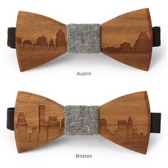 These two young male entrepreneurs were featured on ABC's Shark Tank. I thought their ideas were so clever and really works of art. customized wooden bow ties and flowers. I especially love their city skyline designs! Wooden Bow Tie, Wooden Diy, Wood Shop Projects, Cnc Projects, Skyline Design, Fashion Essentials, Bow Ties, Wood Design, Diys
