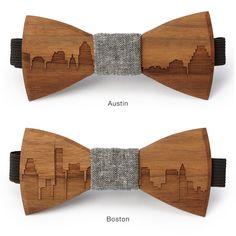 SKYLINE WOODEN BOWTIES | wooden accessories, gift for men | UncommonGoods