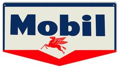 Mobil Pegasus Gas Station Sign, Large 13 x 24 inch .040 Gauge Metal, USA Made Vintage Style Retro Garage Art RG7314L by HomeDecorGarageArt on Etsy
