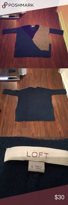 Loft oversized sweater, size small The perfect oversized sweater! Boxy body, fitted through the arms. Navy, green and grey, super soft! No pilling! Nylon/wool/alpaca/spandex blend. Beautiful! LOFT Sweaters V-Necks