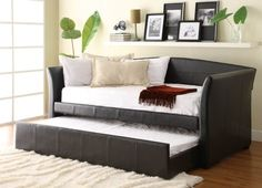 Great option for guest room. Homelegance 4956PU Meyer Dark Brown Finish Bi-Cast Daybed with Trundle - modern - day beds and chaises - los angeles - by Vons Furniture