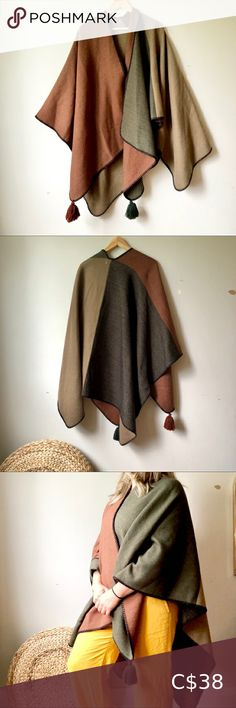 Shawl/Wrap Open-front Poncho Such a cozy, soft piece for the upcoming chilly autumn days. 4 blocks of earthy colours complete with tassels! Material type is unknown. Fits a women's S-XL. Tiny pull shown in photos. If you have any questions please ask. Jackets & Coats Capes Green Kimono, Plus Fashion, Fashion Tips, Fashion Design, Fashion Trends, Cashmere Cape, Knitted Cape, Suede Coat, Swing Coats