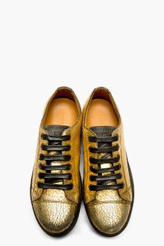 MARC JACOBS Gold Distressed Metallic Leather Sneakers