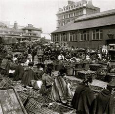 Vintage Covent Garden; Ladies in the market selling nuts in 1888