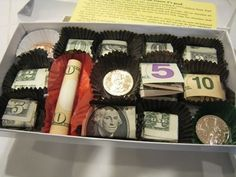 """A """"candy box"""" filled with money. Awesome Christmas present idea for the older kids."""