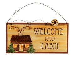Amazon.com: Sunset Vista Designs Wilderness Wonders Welcome To Our Cabin Sign, 8-1/4-Inch Long: Patio, Lawn & Garden (owned)