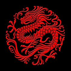 Traditional Red Chinese Dragon Circle