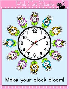 Telling Time Clock Labels - Flowers & Bees Theme Classroom Decor