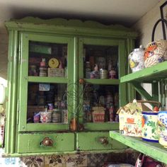 Antique cupboard with vintage groceries, well past their sell-by date!