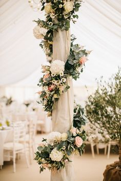Marquee Poles With Floral Decor Boho Floral Wedding Decor & Bohemian Wedding Decorations – With beautiful peach soft blush pinks floral & elegant floral wreath! Perfect for Fall, Floral & Romantic Weddings! Source by designpaperieshop Romantic Wedding Receptions, Bohemian Wedding Decorations, Romantic Weddings, Wedding Centerpieces, Elegant Wedding, Perfect Wedding, Wedding Bouquets, Rustic Wedding, Wedding Venues