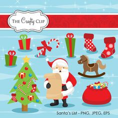 Santa's List Christmas Clipart Set