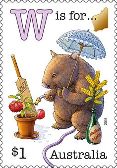 This stamp issue is part one of a series featuring an old-fashioned Aussie alphabet of humorous scenes. It begins with the letters representing five of our states. Old Stamps, Postage Stamp Art, Westerns, Alphabet And Numbers, Penny Black, Fauna, Stamp Collecting, Mail Art, My Stamp