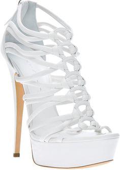 Casadei White Cutout Stiletto Sandal