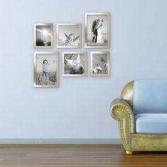 6er Set Bilderrahmen 15x20, 20x20 und 20x30 cm Gold Modern Massivholz