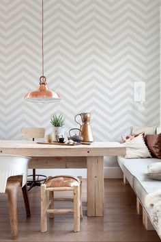 Are you ready to update your walls? Check out these chic geometric wallpaper trends for a modern finish that are sure to inspire. Grey Lattice Wallpaper, Grey Striped Wallpaper, Striped Wallpaper Living Room, Geometric Wallpaper, Living Room Grey, Grey Tone Wallpaper, Grey Wallpaper Dining Room, Herringbone Wallpaper, Wallpaper Patterns