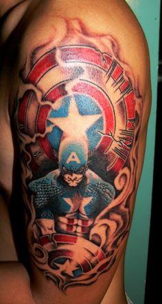 Captain America Twin Monkey Tattoo JKT http://pinterest.com/treypeezy http://twitter.com/TreyPeezy http://instagram.com/OceanviewBLVD http://OceanviewBLVD.com