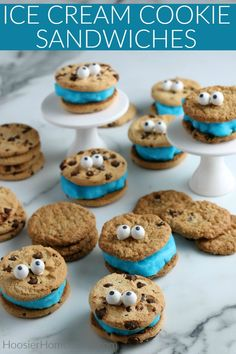 These Ice Cream Cookie Sandwiches go together in minutes! Cookie Sandwiches, Ice Cream Cookie Sandwich, Ice Cream Cookies, Ice Cream Desserts, Frozen Desserts, Summer Desserts, Frozen Treats, Easy Desserts, Summer Food