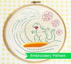 Kawaii Surfin Godzilla Pattern by Cherry and Cinnamon