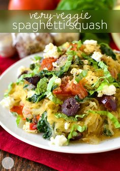 Very-Veggie Spaghetti Squash is a healthy meal packed with vegetables accented with pops of salty cheese and kalamata olives. Fresh and filling!   iowagirleats.com