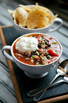 {Mexican black bean chili with sausage.}