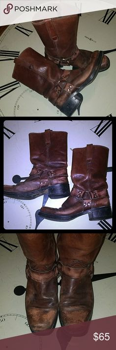 Genuine Distressed Leather Motorcycle Boots (10) This is a pair of brown distressed genuine leather boots in a size 10. These boots I have the buckle and leather that go completely around them just like Harley Davidson boots. The sole is a little worn but nothing major they still have years left on them. Shoes Boots