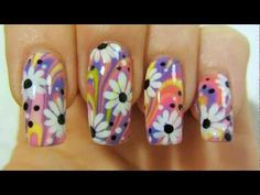 Colorful Hippie Flower Power Design with Water Marbling and Daisies Nail Art Tutorial - YouTube