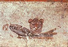 Eucharistischer Fisch und Brot - Wandmalerei aus der Calixtus-Katakombe, 2./3. Jahrhundert
