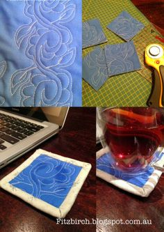 Coasters made from practice pieces of free motion quilting - fantastic idea to use up all those scraps!