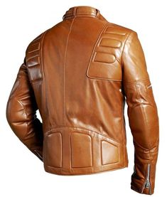 The men's padded slim fit chocolate brown motorcycle leather jacket is a great road attire. Buy yours at USA Jackets.....