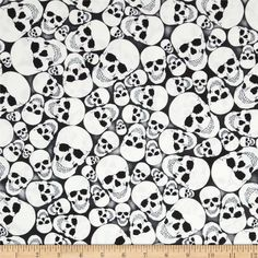 Timeless Treasures Glow in the Dark Skulls Skull from @fabricdotcom  Designed by Timeless Treasures, this cotton print fabric is perfect for quilting, apparel and home decor accents. Colors include shades of black and white.