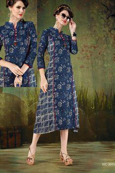 Blue-Cotton-Office-Wear-Printed-Kurti-Reload-4-Victorrian-Catalog-3015